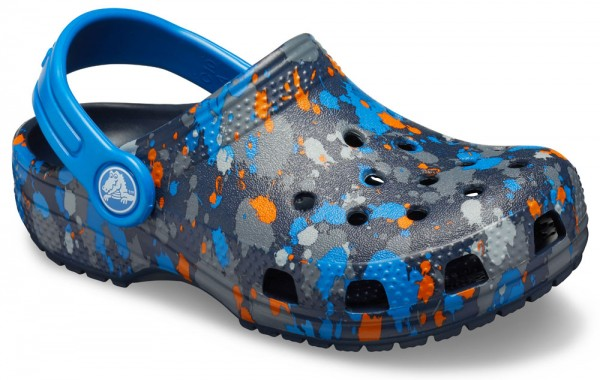 Classic Printed Clog Kids Navy / Bright Cobalt Croslite