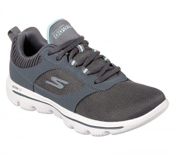 Go Walk Evolution Ultra Enhance - Charcoal / Hellblau Textil