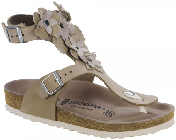 Gizeh High Flower Nude Veloursleder