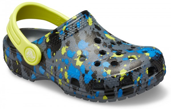 Classic Printed Clog Kids Charcoal / Citrus Croslite