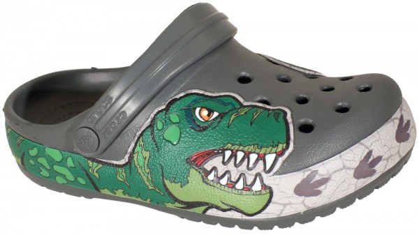 FunLab Dino Band Lights Clog Kids Slate Grau Croslite