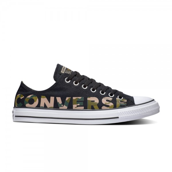 Chuck Taylor All Star Wordmark And Camo Ox Schwarz / Multi / Weiß Segeltuch