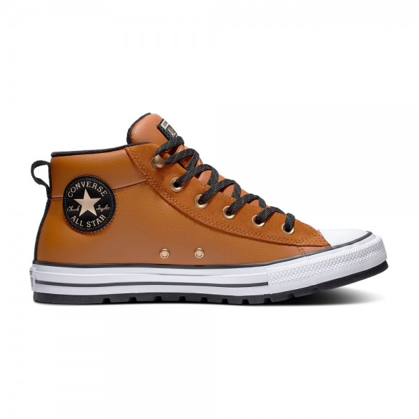 Chuck Taylor All Star Street Leather Mid - Warm Tan / Weiß / Schwarz Leder