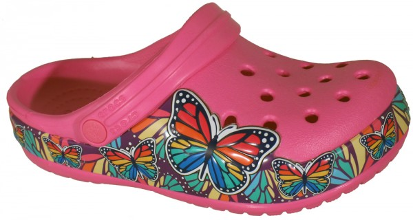 FunLab Butterfly Band Lights Clog Kids Electric Pink Croslite
