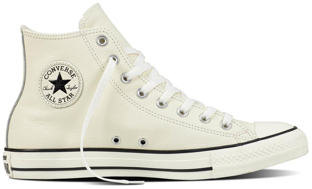 Converse Chuck Taylor All Star Hi Egret / Egret / Schwarz Leder, Weite: normal