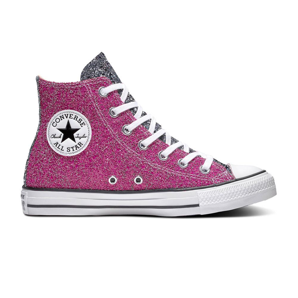 Details zu Converse Sneaker High Chuck Taylor All Star Glitter Hi Pink Silber Weiß Synt