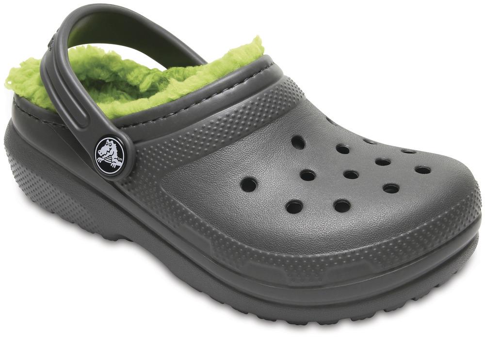crocs Classic Lined Clog Kids Slate Grau / Volt Grün Croslite, Weite: normal Cr