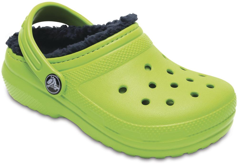 crocs Classic Lined Clog Kids Volt Grün / Navy Croslite, Weite: normal Croslite